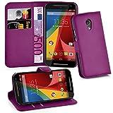 Cadorabo Hülle für Motorola Moto G2 - Hülle in Mangan VIOLETT – Handyhülle mit Kartenfach & Standfunktion - Hülle Cover Schutzhülle Etui Tasche Book Klapp Style