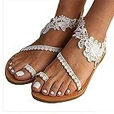 WJYCGFKJ Chanclas para Mujer Floral Slip On Toe Ring Sandalias Planas Zapatos con Correa en el Tobillo de Encaje para Verano Playa Boda Oceanside Vacaciones al Aire Libre