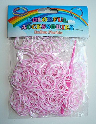 Sachet de 200 élastiques col. Rose et Blanc pour Bracelet + Attaches + 1 Crochet