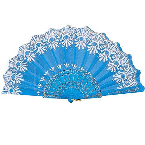 YWLINK Abanicos,Estilo Chino/EspañOl Danza del Banquete De Boda Seda De Seda Plegable Flor De Mano Fan Manualidades Memorial Nacional De Viento(Cielo Azul)