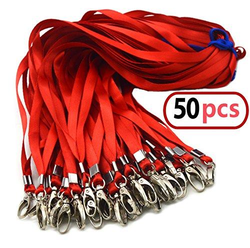 50 Stück 45 cm rotes Bulk-Verbindungsmittel für Erkennungszeichen, Nylonhalsflach-Abzugslenker-Schwenkclips, dauerhaft gewebte Schlüsselbänder mit Clip für Schlüsselketten