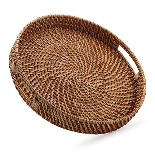 Round Rattan Woven Serving Tray with Handles Ottoman Tray for Breakfast, Drinks, Snacks for Coffee Table, Home Decorative (Honey Brown, 13.8'x2')