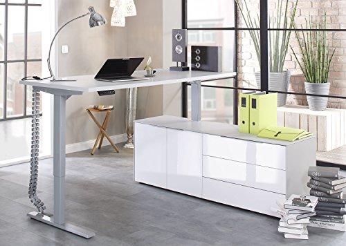 moebel-dich-auf Maja eDJUST elektrisch höhenverstellbarer Schreibtisch 175 * 160 cm in Platingrau/Lack weiß spiegelglanz