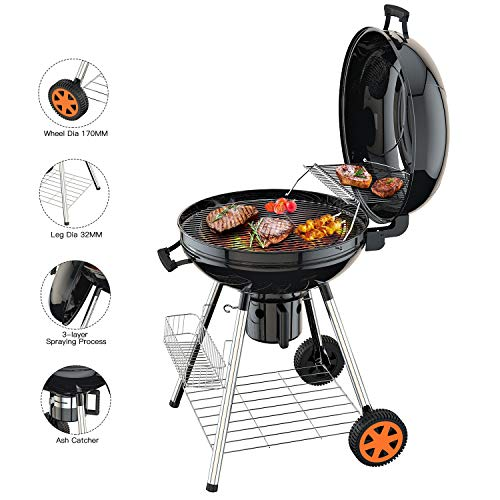 TACKLIFE Barbecue au Charbon de Bois, 57cm Gril Portable à 2...