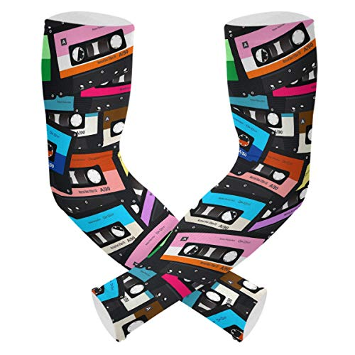UV Sun Protection Cooling Arm Sleeves - Colorful Cassette Tape Music Tattoo Sleeve for Men & Women Compression Sleeves for Baseball Football Basketball Running