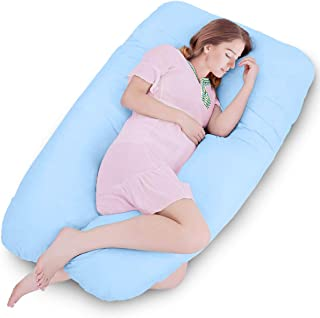 Amagoing 57 inches Pregnancy Pillow, U Shaped Maternity Full Body Pillow for Women with Hip, Leg, Back Pain, Washable Cotton Cover Included (Blue)