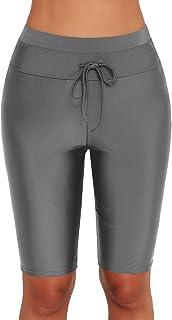 Lau's Shorts de Baño Mujer Pantalones Bañador Deportivo Short de Playa Pantalones Cortos de Natación con Cordón Gris EU 40...
