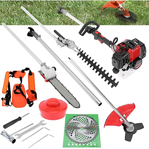 5 in 1 52cc Petrol Hedge Trimmer Chainsaw Brush Cutter Pole Saw Multifunction Garden Tools Gas String Trimmer Included Brush Cutter, Pruner, Strimmer, Hedge Trimmer and Extension Pole Gifts (Red)