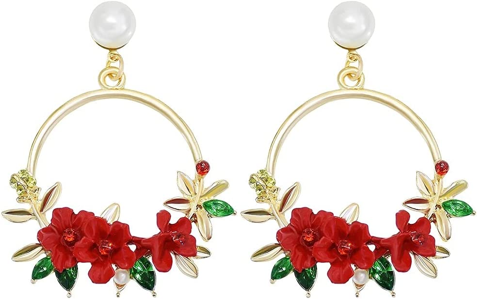 QXZ-WOLFBERRY Diamond Pearl Ear Level Rounded Flower Tree Earrhea Small Clear New Multicoli (Color : Red)