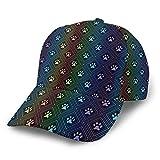 LAOLUCKY Gorra de béisbol ajustable con cierre snapback casual Trucker Hats Sun Hat Men Women Rainbow Dog Paw Print Diamond Shaped Black Talla única