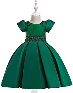 SEASHORE Princess Skirt Girl Bow Flower Girl Wedding Performance Piano Costume 4-12 Years Old (Color : Green, Size : 12-13T)