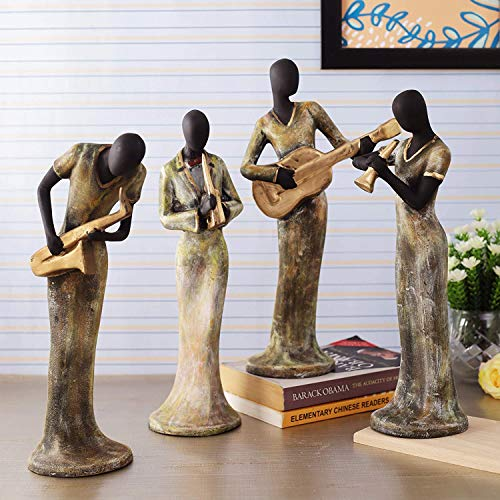 TIED RIBBONS Resin Ladies Playing Musical Instrument Showpiece, X-Large, Multicolor, Set of 3