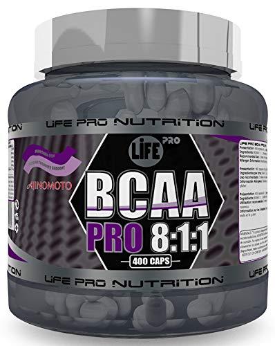 Life Pro BCAA Pro 8:1:1 1000mg Ajinomoto 400 Cápsulas | Suplemento con Aminoácidos de Cadena Ramificada, Leucina, Valina e Isoleucina