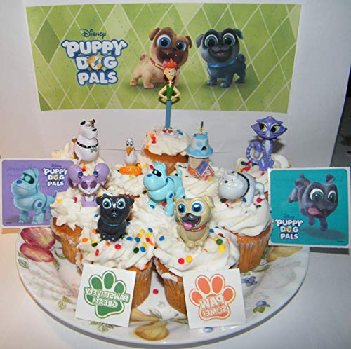 Puppy Dog Pals Deluxe Cake Toppers Cupcake Decorations Set of 14 with 10 Figures, 2 PAW Tattoos and More Featuring Rufus, ARF, Bingo, Rolly and Friends.