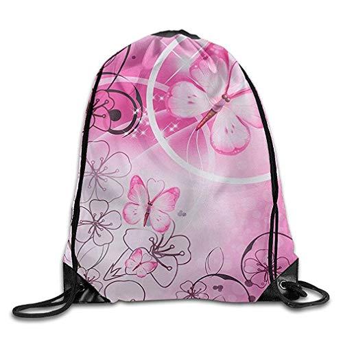 fdgjydjsh Premium Drawstring Gym Bag, Pink Butterfly Sackpack Drawstring Backpack Sport Gym Bag Yoga Runner Daypack