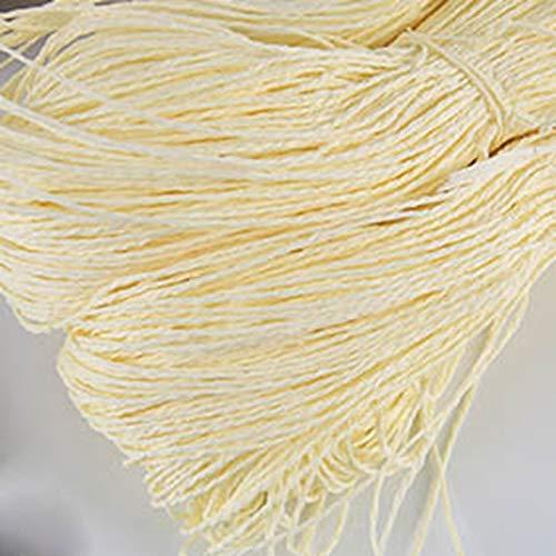 HUANGSAN 100 g/Bola Hilo de Tejer de Paja Sombrero de Tejer-Usar Hilo de Tejer de Paja para Tejer Hilo de fantasía Embalaje de Flores Materiales Hechos a Mano de Verano, Blanco Leche
