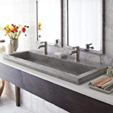 Native Trails NSL4819-A Native Stone Trough Bathroom Sink, 48' x 19', Ash, Dual Faucet Hole
