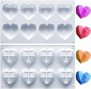 Silicone Mold 3D Diamond Heart, DELFINO High Circle Ball/Double Layer Cherry Shape Bakeware Mold Chocolate Soap Cake Desse...