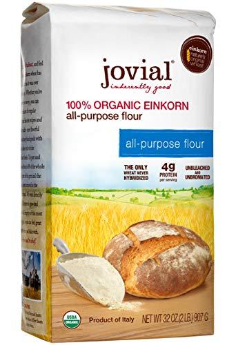 Jovial Einkorn Baking Flour | 100% Organic Einkorn All Purpose Flour | High Protein | Non-GMO | USDA Certified Organic | Delicious Taste | Product of Italy | 32 oz