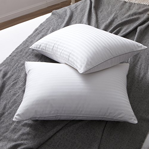 L LOVSOUL Set of 2 White Goose Down and Feather Bed Pillows - Triple Chambers Design, 1000TC 100% Egyptian Cotton Fabric Standard/Queen Size, Soft Pillow