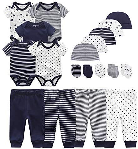 Chamie Newborn Baby Bodysuit Pants caps Mittens Short Sleeve Onesies Baby Clothes for Boys and product image