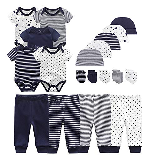 Chamie Newborn Baby Bodysuit Pants caps Mittens Short Sleeve Onesies Baby Clothes for Boys and Girls