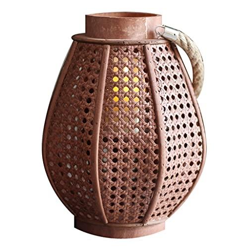 Linternas Decorativas De Madera Linterna Tejida A Mano Decorativa China Retro De Linterna para Exteriores Al Aire Libre Y Bodas (Color : Brown, Size : 22.5 * 22.5 * 31cm)