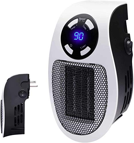 Programmable Wall Outlet Electric Space Heater with LED Screen, with Adjustable Thermostat and Timer, Compact for Home Office Indoor Use, 350 Watt ETL Listed