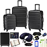 Samsonite 68311-1041 Omni Hardside Luggage Nested Spinner Set 20 Inch, 24 Inch, 28 Inch - Black Bundle w/Deco Gear Luggage Accessory Kit (10 Item)
