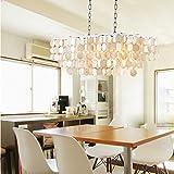LightInTheBox Modern White Shell + Crystal Home Ceiling Light Fixture Flush Mount, Pendant Light Chandeliers Lighting for Bedroom, Living Room (Style B)