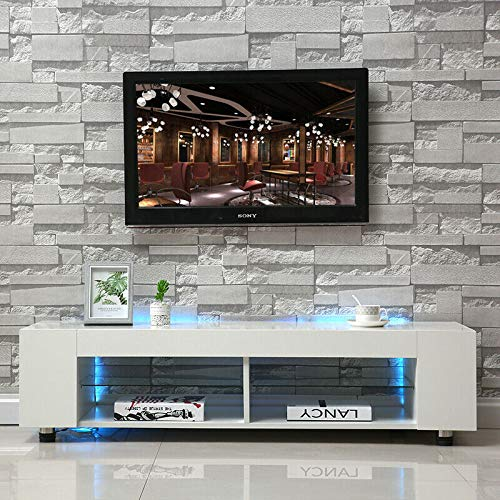 Lyrlody Tv-tafel voor woonkamer met LED-lampen, modern tv-meubel, hoge helderheid, TV-kast, wit