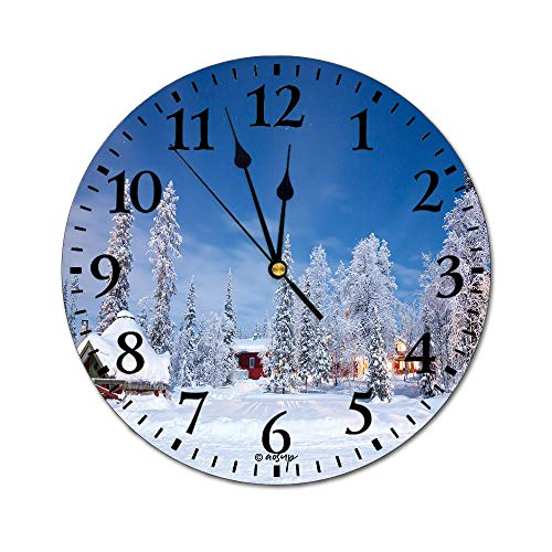 ALUONI 10 Inch Wall Decorative Clock Winter Landscape with Cabin Hut at Night in Kiruna Sweden at Night with Star Living Room Modern Clock, Silent Non Ticking Round Digital Wall Clock SW07678