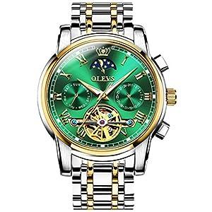 機械式 時計 自動巻き 腕時計 メンズ うで時計 ビジネス おしゃれ 防水 男性用 高級 ブランド スケルトン ビッグフェイス ステンレスバンド アナログ 紳士 人気 ムーンフェイズダイヤル カレンダー グリーン 父の日 プレゼント OLEVS