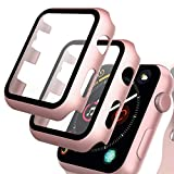 GeeRic Protector de Pantalla Compatible con Apple Watch 42mm Series 3, [2 Pcs] [PC Funda][HD Película] [Completa], Cristal Vidrio Templado Compatible para Apple Watch 42mm Series 3/2/1 Rosa
