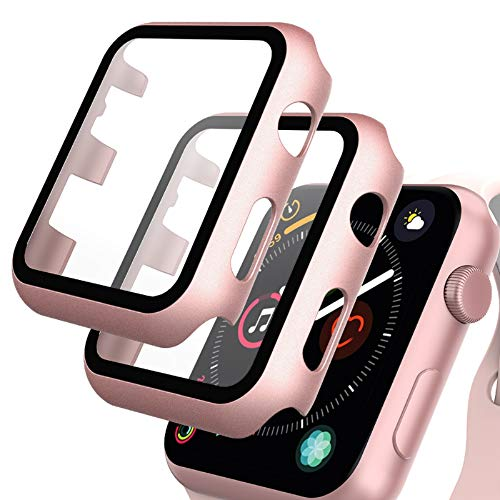GeeRic 2PCS Pellicola Vetro Temperato Compatibile per Apple Watch 38mm Serie 3/2/1 HD Cover Resistente Urti Pellicola Copertura Completa Custodia Compatibile per Apple Watch 38mm Serie 1/2/3 Rosa-Oro