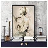 JHGJHK Póster con impresión de Arte nórdico, Cuadro de Pared en Blanco y Negro, Sala de Estar, Dormitorio, decoración artística para el hogar, Pintura al óleo