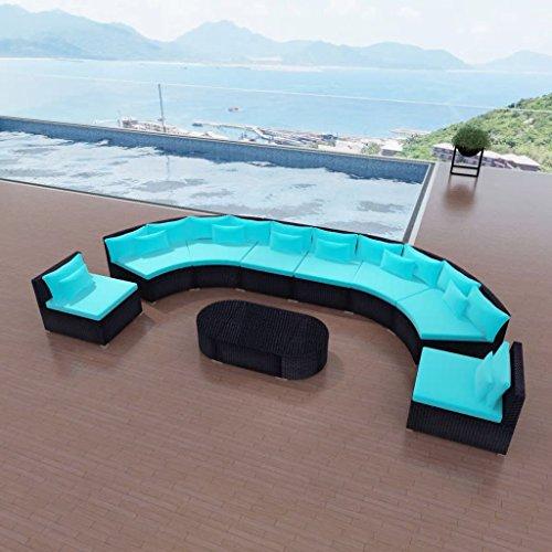 Tidyard Conjunto Muebles de Jardín 41 Piezas con Mesa y Cojines,Sofa Exterior para Jardín Balcón Patio Piscina Terraza,Cojines Extraíbles,Estructura de Acero,Poli Ratán Azul Tropical