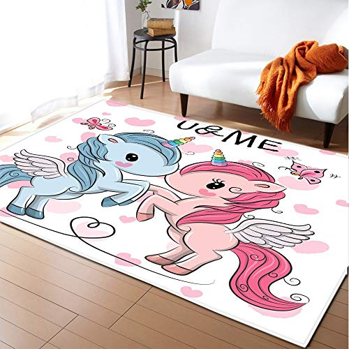 LLPZ Alfombras Impresas En 3D De Unicornio Infantil De Dibujos Animados, Alfombra De áRea De Dormitorio De Sala De Estar, Alfombra De Piso De Rastreo para Sala De NiñOs 80x150cm 16