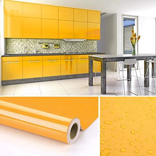 KINLO Papel de Cocina Amarillo 60x500cm de PVC Adhesivo para Armario Cocina Papel Adhesivo para Muebles Papel Impermeable Autoadhesivo para Armario de Cocina Papel Decorativo con Brillo