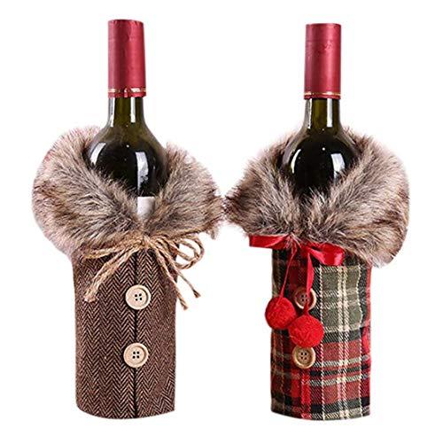 SHOP ICEXPLORE Weihnachten Flaschen Deko Flaschen Anzug Weinflasche Flaschenanzug Wein Flasche Tasche Rotwein Beutel Weihnachten Geschenkverpackung