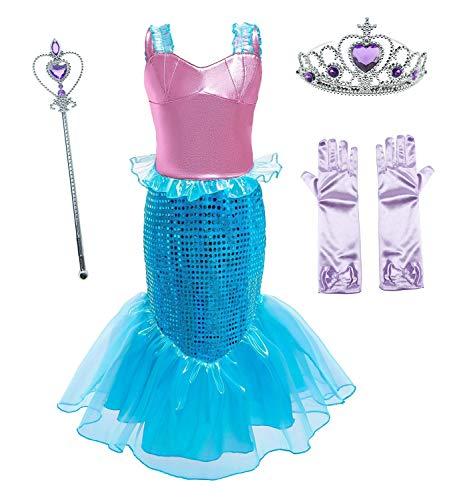 Le SSara Vestido de Fiesta de Lentejuelas de Disfraces de Princesa Ariel para Niñas con Accesorios para Niños (110(4-5 años), D76+Pur1)