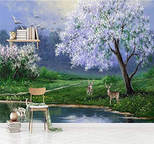 Muurscherm, 3D, grote fantasy, modern, minimalistisch, abstract, boslandschap aan de rand van een 5D-stof, voor het afdrukken van foto's, muurdecoratie, voor woonkamer, slaapkamer, kantoor, plafond 500cm(W) x 320cm(H) (16.40 x 10.50) ft