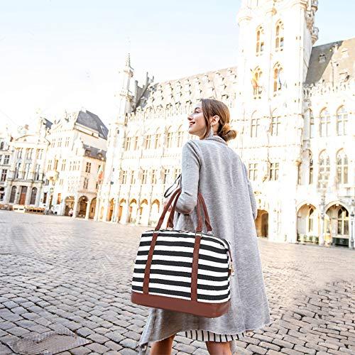 A AM SeaBlue Canvas Reisetasche für Damen Weekender Tasche Streifen Tragetasche Handgepäck Reise Gepäck Tasche mit PU-Lederriemen,42 x 21,5 x 34 cm