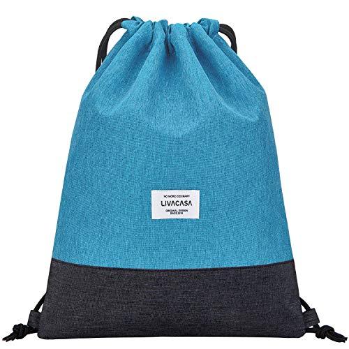 LIVACASA Mochilas de Cuerdas Unisex Casual Mochilas Cordón Impermeable Gimnasio Deporte Ligero Gym Bag (Azul Claro, 43×33cm)