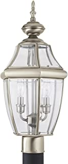 Sea Gull Lighting 8229-965 Lancaster Two-Light Outdoor Post Lantern with Clear Curved Beveled Glass Panels, Antique Brushed Nickel Finish