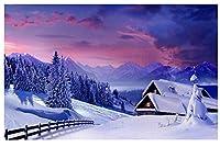 200ピース木製パズルファミリーゲームDiyギフトデコレーションペインティングアートワークブレインチャレンジ,雪の上の木造住宅