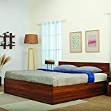Queen-size bed with dimensions of 201.1cm (length) x 156.3cm (width) x 79.5cm (height); Headboard thickness: 15mm Material: Engineered Wood, Finish: Columbian Walnut. Recommended Mattress Size: 78x60 inches 4 Box Storage with Ample Space Delivery Con...