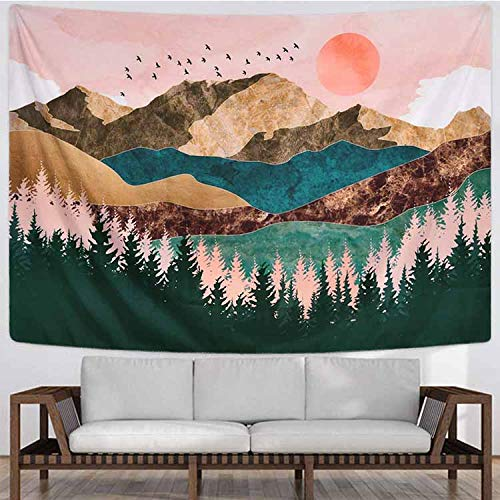 N / A Psychedelic Forest Sun and Mountain Tapestry Wall Hanging Home Decor Art Tapestry Hippie Tapestry Cloth A1 150x130cm
