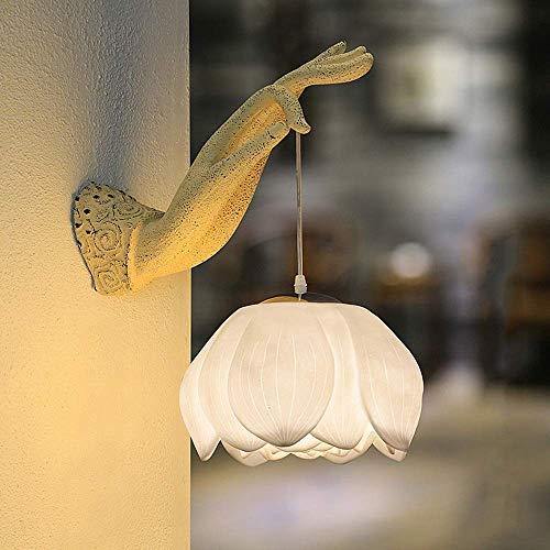 nakw88 Lámpara de Pared Lámpara de Pared LED Lotus, Zen, Mano Izquierda, luz Decorativa Creativa para Sala de Estar/Hotel/Club/Pasillo/Pasillo, Restaurante/Dormitorio, mesita de Noche (Color:Blanco