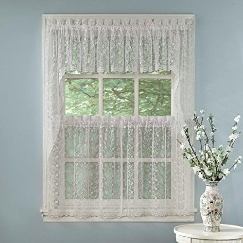 """Sweet Home Collection 5 Pc Kitchen Curtain Set-Valance Swag Choice of 24"""" or 36"""" Tier Pair, Priscilla White"""